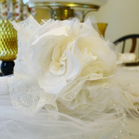 Shabby Chic Bridal Bouquet Handmade Vintage Inspired  Fabric Flowers White Cream Colored Wedding Tulle Lace