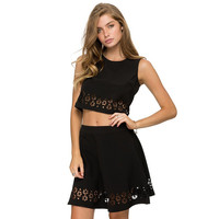 Black Skater Skirt with Cut Out