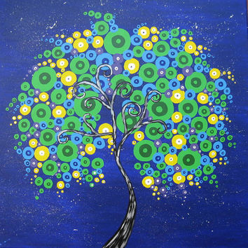 tree painting canvas, purple, blue, green, yellow,colourful, colorful, original, huge large  tree of life, art, square canvas