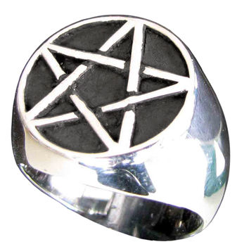 Sterling Silver Pentacle Ring Celtic Pentagram Overlapping Lines Symbol Wiccan Jewelry