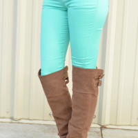 Living In Color Skinny Jeans: Mint