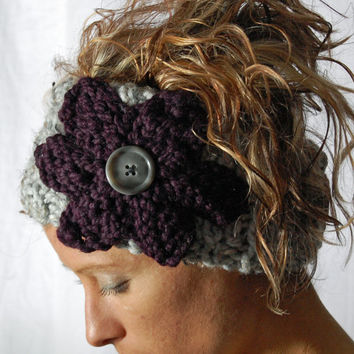 Ear Warmer FLOWER HEADBAND knit Grey Head wrap  button closure - Purple Eggplant knitted flower - gift - winter holiday accessory