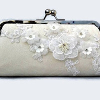 Silk Bridal Purse, Lace Applique Bridal Purse With Crystals, Bridesmaid Clutch, Bridal Bag, Japanese Silk Clutch Purse, Silk Evening Bag