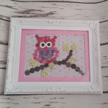 Button art owl ~ button art frame ~ white frame ~ baby shower gift ~ woodland animal~ home decor ~ bird watcher gift ~ Free uk delivery.