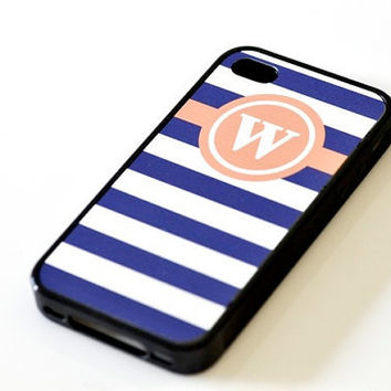 Nautical Monogram iPhone Case - Peach & Navy Stripes
