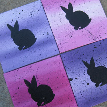 Set of 4 rabbits on tiny canvases original art painting paintings colorful pink blue purple small decor wall art or coasters