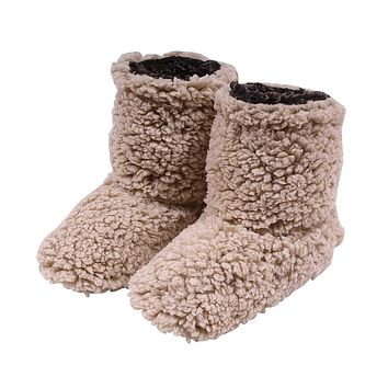 Sherpa Fleece Booties in Oatmeal and Charcoal by Live Oak