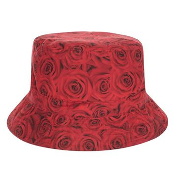 Hot Sale Harajuku Flat Bucket Hats printed Rose Donuts Style Beach Hat Causal Cops For Women Girls 2017 Summer