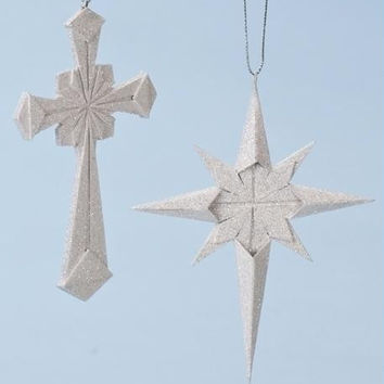 12 Christmas Ornaments - Origami-style Star And Cross