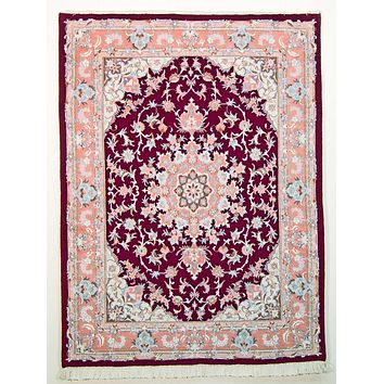 Oriental Tabriz Persian Wool and Silk Rug, Maroon and Pink Rug, 4' x 6' Rug