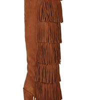 Paul Andrew - Tara fringed suede knee boots