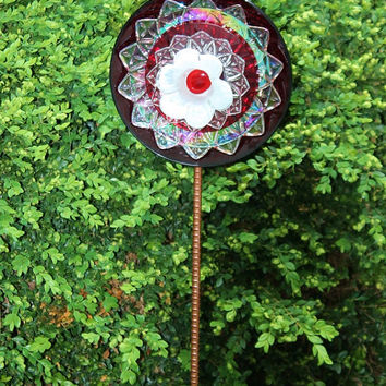 SALE Iridescent Red White Vintage Glass Garden Flower / Blue Ram Blooms / Christmas Wedding Anniversary Birthday Gift / Indoor Outdoor Decor