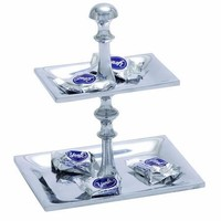 """Benzara Aluminum Candy Tray with Two Tier Pedestal 10"""" Height"""