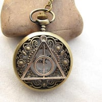 ON SALE--Harry Potter Deathly Hollows flower pocket watch pendant necklace chain Jewelry Pendant men's gift antique jewelry steampunk gift