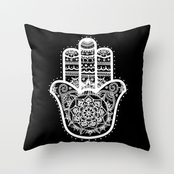 Black & White Hamsa Hand Throw Pillow by Laurel Mae