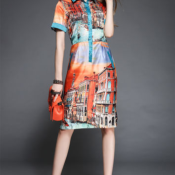 Building Print Short-Sleeve Button-Up Collared Dress