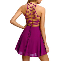 2017 New Arrival Hot Pink Cross Lace Up Backless Spaghetti Strap Short Skater Dress Women A Line Sleeveless Mini Dress vestidos