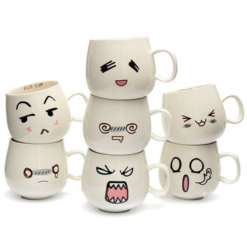New Arrival 300ml Water Mug 7x8x9cm 7 Kinds Lovely Cute White Pottery Ceramic Cup Cute Face Mug Tea Coffee Milk Cup