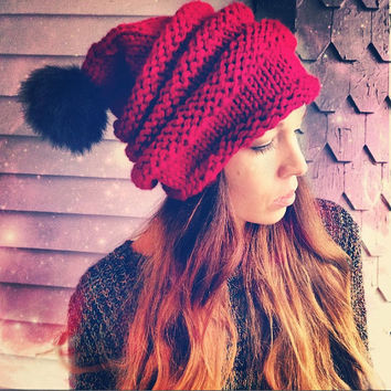 Hand Knit Beehive Slouchy Pom Pom Beanie,Santa Stocking Pompom Hat,Unisex Hat,Chunky Knit Hat,Winter Hat,Ribbed Hat,Christmas Hat,Hippie Hat