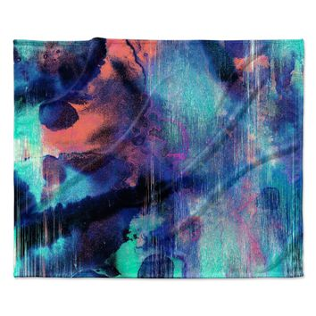 "Nina May ""Grotto Falls"" Blue Teal Fleece Throw Blanket"