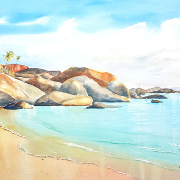 Original Virgin Island Watercolor painting, The Baths BVI, 18x24, Virgin Gorda, British Virgin Islands,Tropical watercolor, Large Watercolor