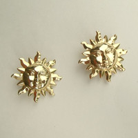 Smiling Sun Face Clip On Earrings Fun Figural Jewelry