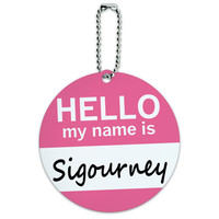Sigourney Hello My Name Is Round ID Card Luggage Tag