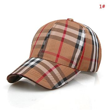 Burberry Fashion New Plaid Stripe Sun Protection Women Men Cap Hat 1#