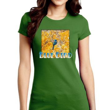 Blue Bird In Yellow Text Juniors Petite Crew Dark T-Shirt