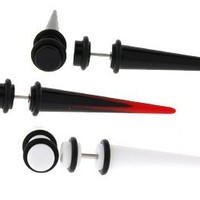 Set of 3 Acrylic Fake Tapers - White, Black, Red and Black with Red Star Logo - 16g Wire Stud - 2g Fake Taper - 3 Pairs