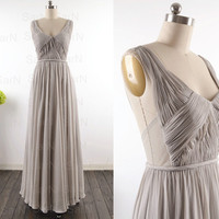 Long V Neck Prom Dresses, Custom Straps V Neck Chiffon Long Formal Dresses, Silver Long Prom Gown