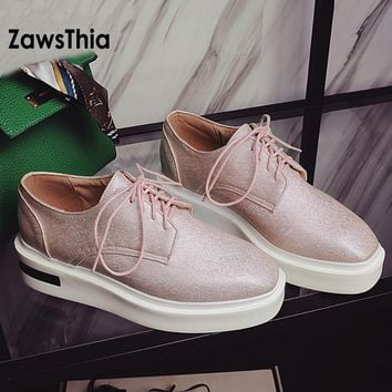ZawsThia Womens Sneakers Spring fall Fashion Flat Platform Shoes Woman Casual Lady Shoes square toe femmes shoes big size 34-43