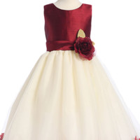 Burgundy Shantung & Ivory Tulle Blossom Flower Girl Dress with Floating Flower Petals (Girls 2T - Size 12)