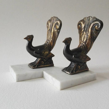 Bookends, Peacock, art deco, french vintage, french antique, library decor, book decor, books, french style, french design, desk decor, chic