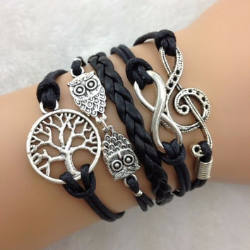 Music Note Infinity Owl & Tree Stacked Bracelet, black