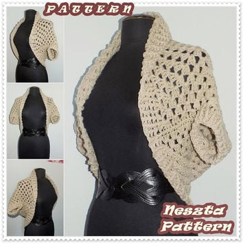Crochet PATTERN, crochet sweater, crochet shrug, bulky cardigan pattern, crochet women Instant DOWNLOAD Pattern
