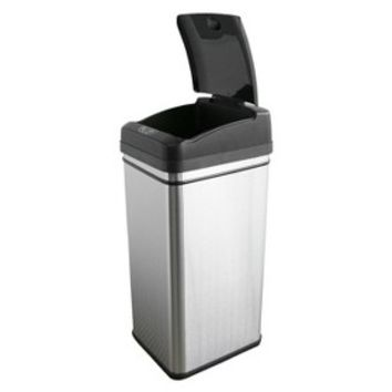 iTouchless Deodorizer 13 Gallon Stainless Steel Automatic Touchless Trash Can with Carbon Filter