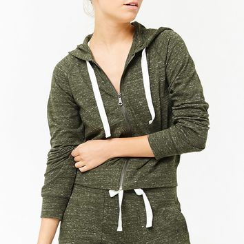 Active Heathered Knit Zip-Up Hoodie