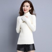 Spring Autumn Winter New Flounce Rippled Hem Half Turtle Neck Knit Sweater Slim Female Brief Jersey All-match Solid Color Jumper