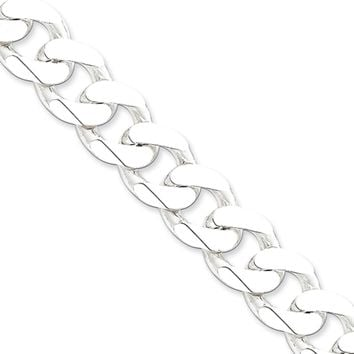 Men's 15mm, Sterling Silver Solid Beveled Curb Chain Bracelet, 9 Inch