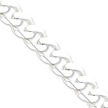 Men's 15mm, Sterling Silver Solid Beveled Curb Chain Bracelet, 8 Inch