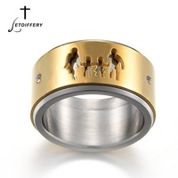 Letdiffery Creative Double Layer Stainless Steel Rotation Finger Ring Hollow Parents Girl Boy Ring For Couples Gift