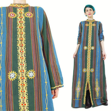 Vintage Embroidered Caftan Dress Hippie Boho Striped Ethnic Dress Long Sleeve Caftan Metallic Gold Kaftan Dress African Maxi Dress (S/M)
