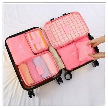 Versatile 6 pcs Set Travel Storage Bag Large Capacity Luggage Suitcase Storage Bags Waterproof Underwear