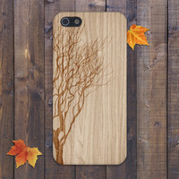 Winter Tree x Fallen Leaves Wood Design Case for iPhone 6 6 Plus iPhone 5 5s 5c iPhone 4 4s Samsung Galaxy s5 s4 & s3 and Note 4 3 2