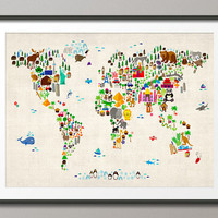 Animal Map of the World Map for children and kids, Art Print, 18x24 inch (60)