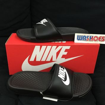 2017 Nike Benassi JDI Black White 343880-090 US 7-11 Slippers Slides Sandals NSW