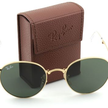 Ray-Ban RB3532 Round Folding Flash Series Unisex Sunglasses (Gold Frame Green G