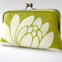 Chartreuse Lotus in silk lining floral clutch purse by by BagNoir