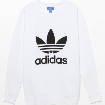 adidas Trefoil White Crew Neck Sweatshirt at PacSun.com
